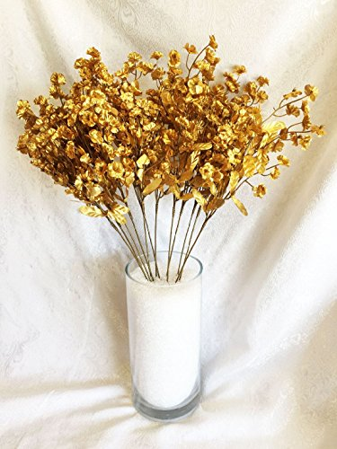 12 Baby S Breath Gold Gypsophila Silk Wedding Flowers Centerpieces Fillers Buy Online In China At Desertcart Productid 114339807