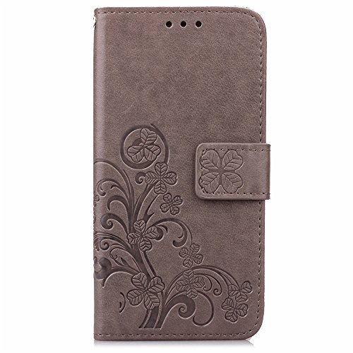 Cuitan PU Leather Case for Samsung Galaxy S6, Four Leaf Clover Design Stand Wallet Case with Card Slots & Lanyard, Magnetic Closure Flip Protective Case Holster Cover Shell for Samsung S6 - Gray