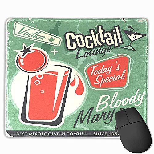 (Environmental Rubber Mouse Mat Retro,Nostalgic Poster Bar Art for Todays Special Famous Cocktail Bloody Drink and Vodka,Green Red,7