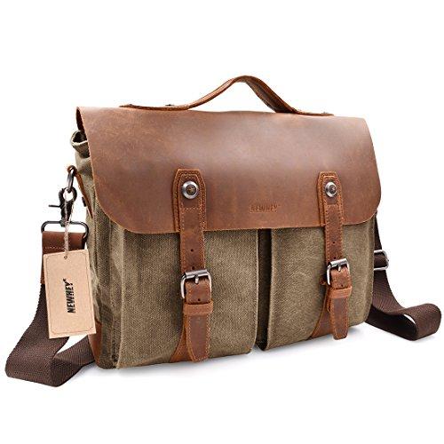 Vintage Mens Messenger Bag Satchel Up to 14'' laptops Bag,Crazy Horse Leather Briefcase Crossbody Shoulder Handle NoteBook Computer Bag,15.7