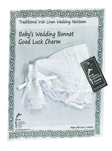 - Thomas Ferguson Irish Linen - Baby's Traditional Wedding Bonnet and Handkerchief with Lace Edge, White