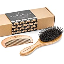 Boar Bristle Hair Brush with Detangle Pins, Included Wooden Comb for Natural Hair Detangling, Boar Bristles Make Hair Shiny and Silky, Set Comes in an Eco-Friendly Box