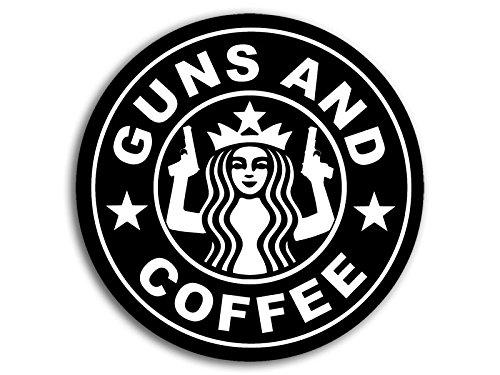 Round BLACK Guns and Coffee NEW Sticker 2nd logo starbucks military