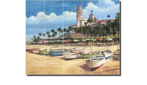Spain beach harbor boat mediterranean ocean ceramic tile mural mosaic backsplash