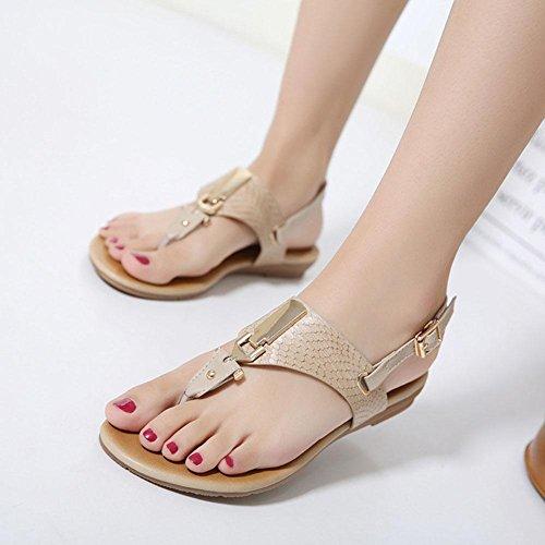 cómodos zapatos planos estilo hebilla las de del pie de de dedo apricot espiga del Sandalias zapatos clip mujeres salvajes de metal casuales x0qXwY