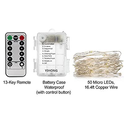 YIHONG 2 Set String Lights 8 Modes 50LED Fairy Lights Battery Operated 16.4FT Twinkle Firefly Lights with Remote Timer for Bedroom Patio Garden Wedding Party Festival Indoor Decor-White