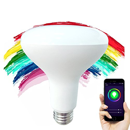 FRANKEVER Wifi Smart LED Bulb, Remote Controller RGB Multicolored Color Dimmable 7W Wide Flood (Compatible with Alexa & Google Home) No Hub Required LED Light (B Google Account)