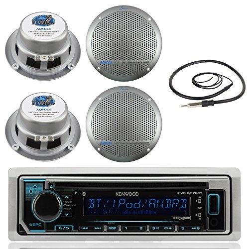5.25' Dual Cone (New Kenwood Marine Boat ATV Car In Dash Bluetooth CD MP3 USB AUX iPod iPhone AM/FM Radio Stereo Player With 4 X Lanzar AQ5DCS 300 Watts 5.25-Inch Dual Cone Marine Speakers And Enrock Marine 45