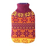 Large 2 Liter Soft Cute Hot Water Bottle Knit Cover - ONLY Cover (2 L, Snowflake)