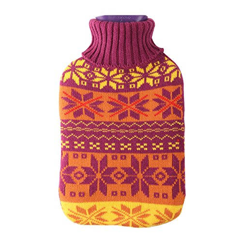 (Large 2 Liter Soft Cute Hot Water Bottle Knit Cover - ONLY Cover (2 L, Snowflake))