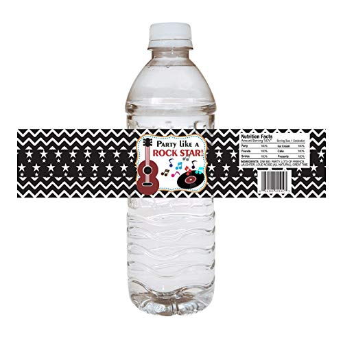 (Red Rock Star Party Water Bottle Labels - Boy and Girl Beverage Drink Event Stickers - Set of)