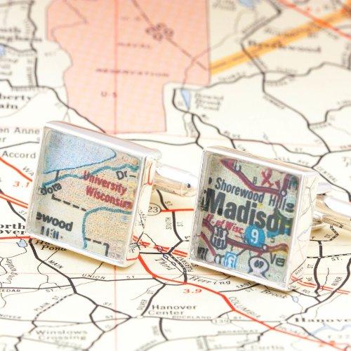 Wisconsin Antique Map (University of Wisconsin Vintage Map Cufflinks)