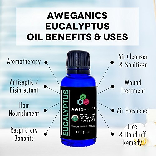 Aweganics Pure Eucalyptus Oil USDA Organic Essential Oils, 100% Pure Natural Premium Therapeutic Grade, Best Aromatherapy Scented-Oils for Diffuser, Home, Office, Personal Use - 1 OZ - MSRP $19.99 by AWEGANICS (Image #2)