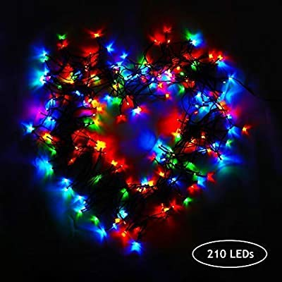 DLTND Solar Christmas String Lights, Solar Powered 210 LED 75Ft 23M 8Modes Waterproof Outdoor Indoor Fairy Lights for Home Lawn Garden Patio Landscape Xmas Tree Wedding Holiday Party (Multi-Color)