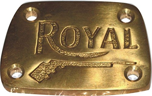 RS Vintage Parts RSV-B019E2O1N6-01479 Motorcycle Parts Royal Enfield 350/500 Classic EFI Pure Brass Gun Logo Tappet Cover