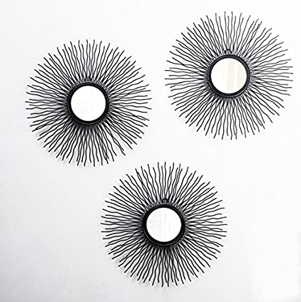 Furnish Craft Beautiful Curly Designed Black Framed Wall Mirror in Pack of 3 (Size- 15 x 15 inch)