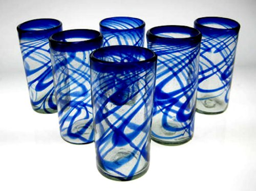 Mexican Glass Blue Swirl Tumblers 20 Oz Set of 6