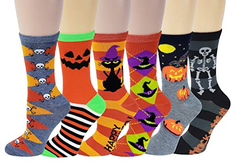 Sumona 6 Pairs Women Colorful Fancy Crazy Design Soft & Stretchy Novelty Crew Socks (Halloween) -