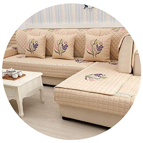 - 1-Piece Embroidered Slipcovers Sofa Covers Non-Slip Cotton Quilted Corner Sectional Sofa Couch Cover Living Room Sofa Decoration,Brown 04,90X120Cm 1 Piece