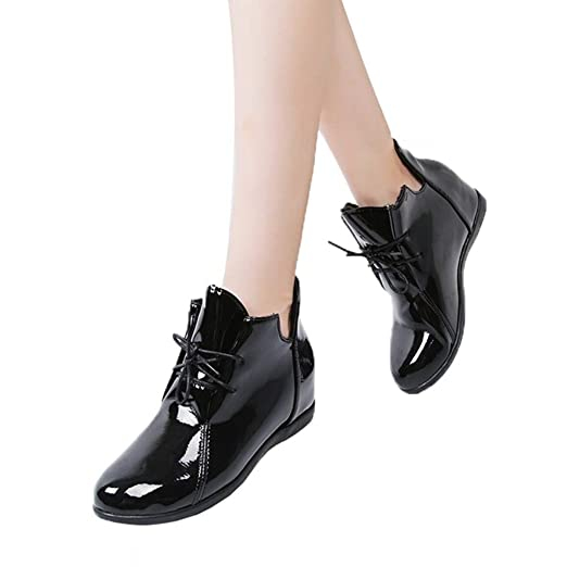 e505637e0f3fb Women Inner Heightening Shoes High-Heel Flat Platform Sneaker Lace-up Patent  Leather Boots