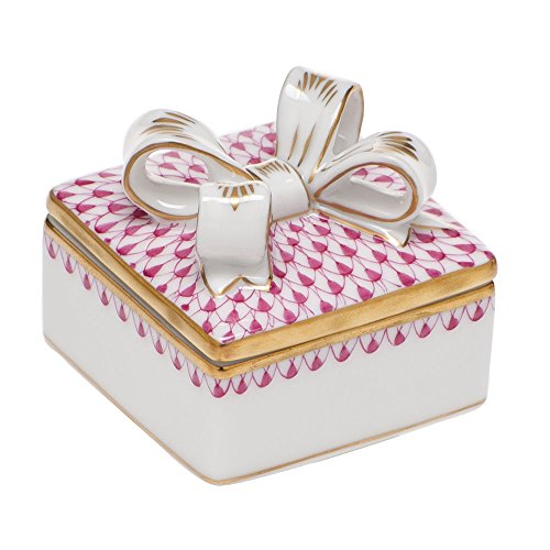 Herend Box with Bow Porcelain China Raspberry Fishnet