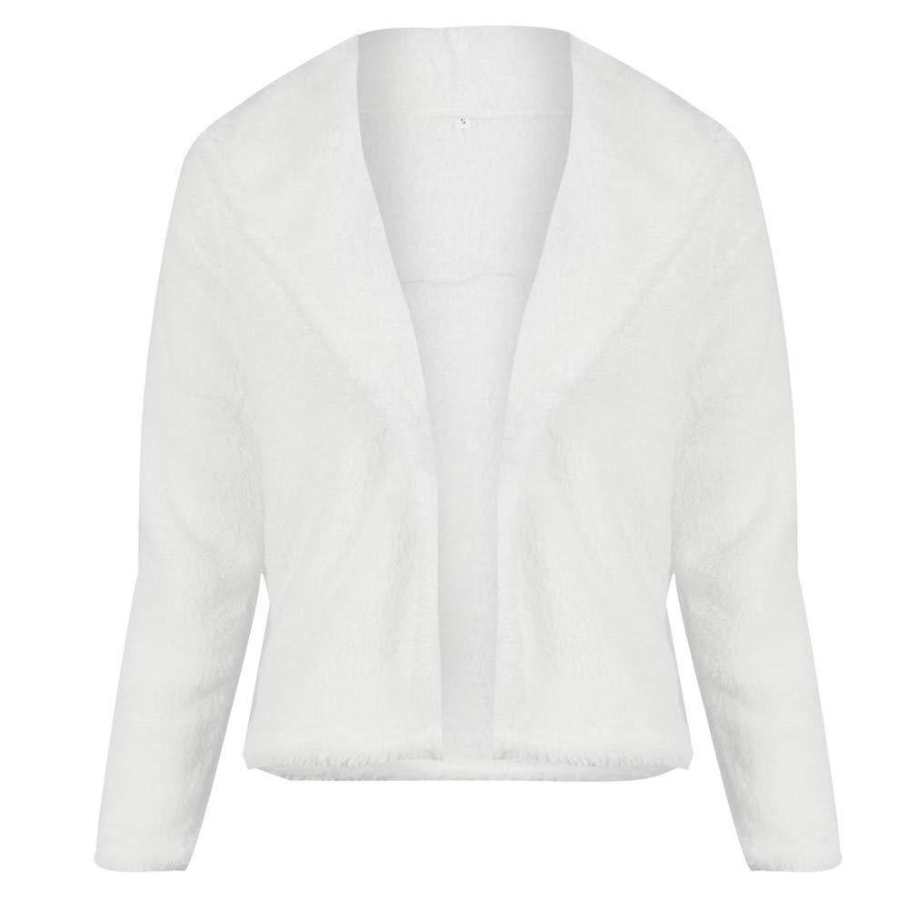 Clearance!!! Women Outwear Faux Fur Coat Wedding Cloak Cape ShawlCover Up(White, S)