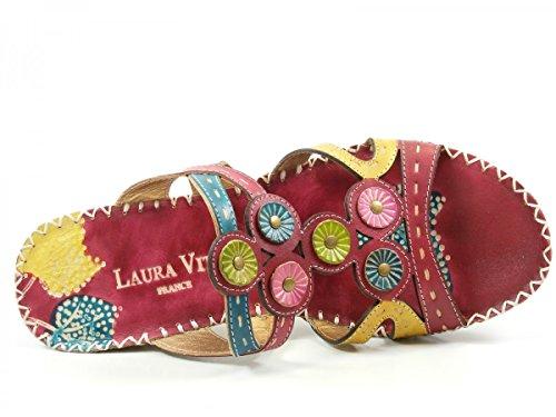 Laura Vita CX077-6 Vana Zuecos fashion de cuero mujer Rot