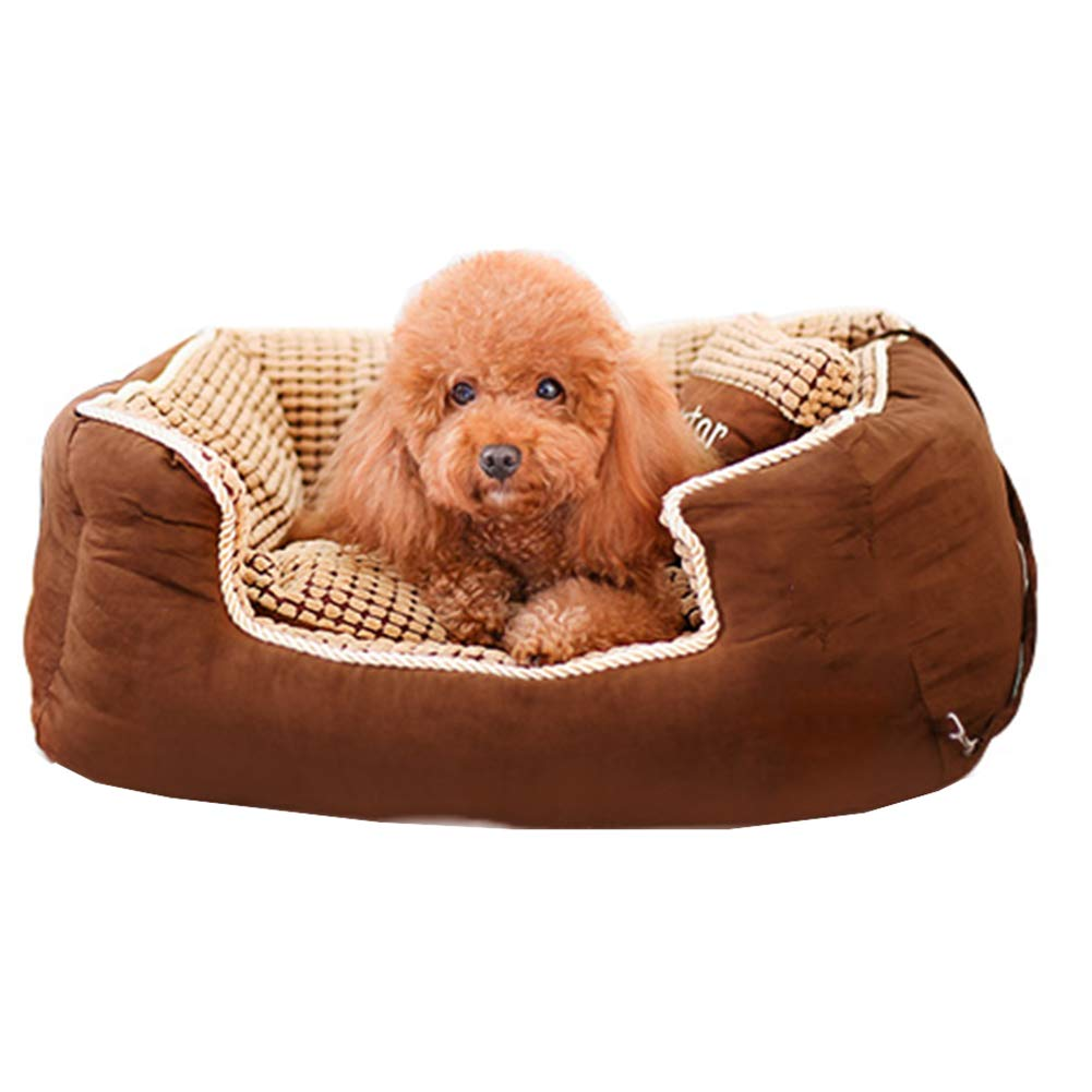 BROWN L BROWN L Pet Bed Pet Sofa Cat Nest Pet Nest Dog Nest Cat Kennel Kennel Solid color Screw Pattern Seam Thickening FENGMING (color   BROWN, Size   L)