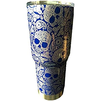 30 oz Blue Paisley Skulls Stainless Steel Tumbler with 100% Splash Proof Lid - Double-Wall Insulated Tumbler Warehouse Travel Coffee Mug for Hot & Cold Drinks - Sweat-Free Tumbler