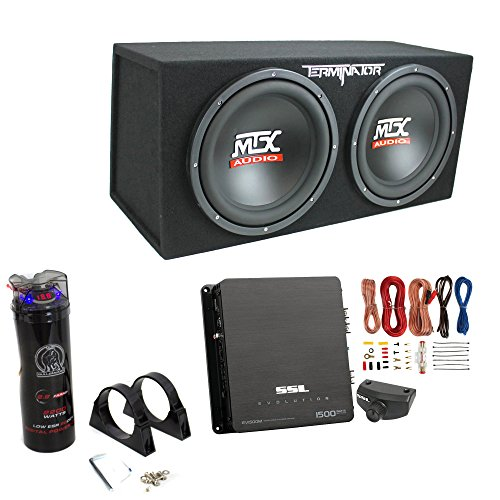 "MTX TNE212D 12"" 1200W Dual Loaded Subwoofer Box + 1500W Amp + Wiring + Capacitor"