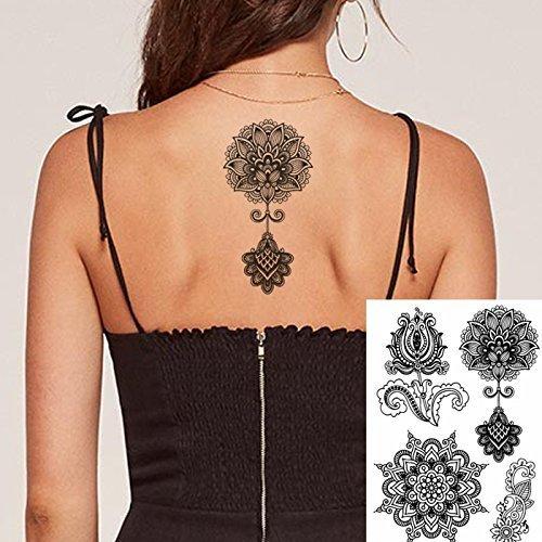 2c1dd3cd8 8 Sheets Black Henna Temporary Tattoo Stickers Lace Sexy Body Tattoo  stickers Women Girls,Flash