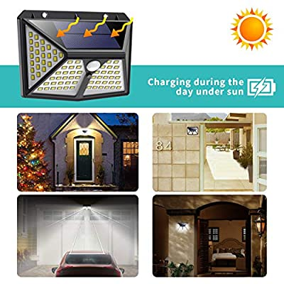 Solar Lights Outdoor 98 LED, Gixvdcu Solar Motion Sensor Lights 3 Modes 270° Wide Angle IP65 Waterproof Security Wireless Wall Light for Outdoor, Garden, Patio Yard, Deck Garage, Fence (2 Pack)