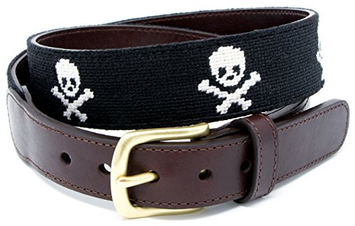 Skull & Bones Needlepoint Men's Belt Hand-stitched Using Top Quality Cotton on Full Grain Leather Backing (Size 36)