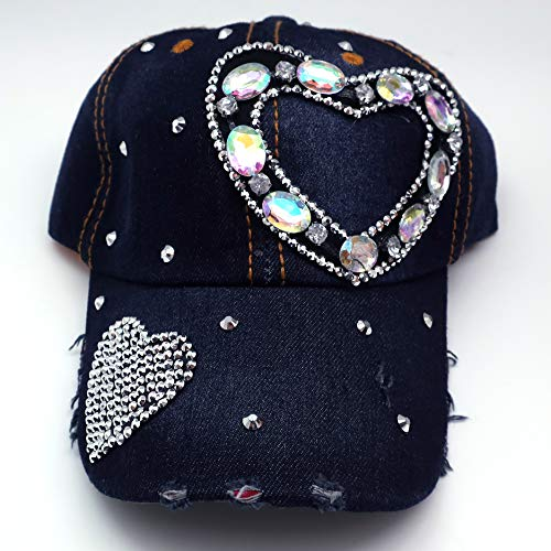 Bling Baseball Cap Hat - 100% Cotton Denim - Embellished with Crystal Rhinestones and Faux Gemstones - Features an Adjustable Buckle - Comfortable and Breathable ()