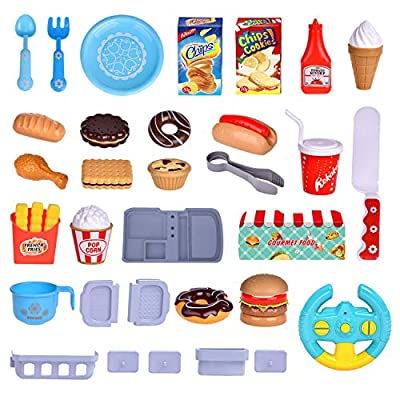 FunLittleToy Remote Control Pretend Play Food Car, Including 46 Pieces Pretend Play Food Accessories: Toys & Games