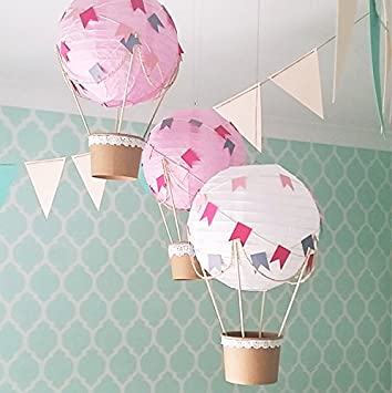 Whimsical Hot Air Balloon DIY Kit   Nursery Decoration   Baby Shower    Travel Theme Nursery