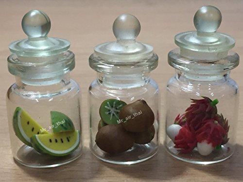 3pc Miniature Fruit Vegetable Food Watermelon Cake Dollhouse Fruit in Clear Glass Mini Bottle fruit Food #MF034