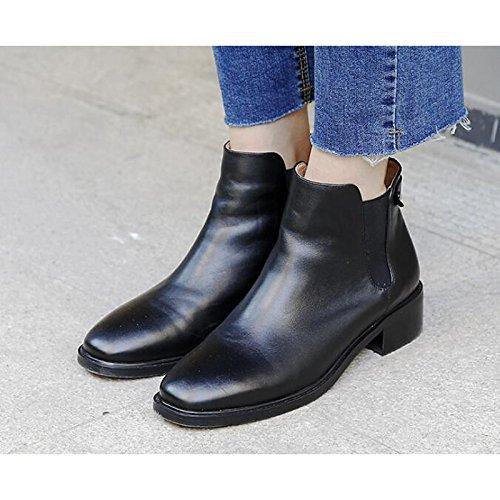 HSXZ Damen Schuhe Schuhe Schuhe Rindsleder Frühling Herbst Comfort Stiefelie niedrigem Absatz Stiefelies Stiefel Stiefeletten für Casual Braun Schwarz e55501