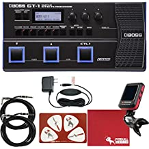 BOSS GT-1 Guitar Effects Processor with Power Adapter, Cables, Tuner, Polish Cloth, Picks