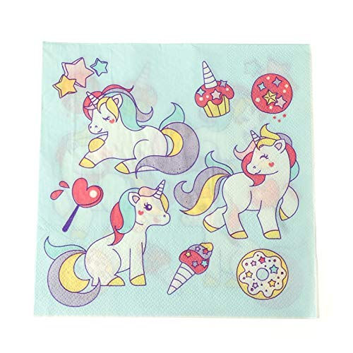 Cloth Napkin - 10 20pcs Lot Decoupage Servilleta Paper Wedding Napkin Printed Cartoon Unicorn Napkins Party - Disposable Tableware Party Disposable Party Tableware Round Napkin -