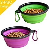 STARUBY 2-Pack Large Collapsible Dog Bowl, Foldable Pet Travel Bowl, Portable Cat Feeding Dish Outdoor Camping Pet Food Water Bowl Green Purple Review