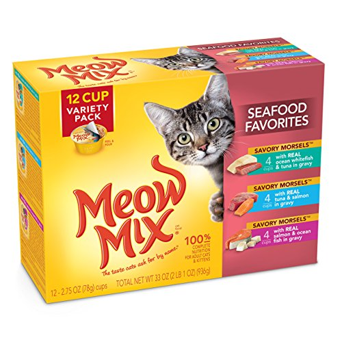 Meow Mix Seafood Favorites Variety Pack Wet Cat Food, 2.75-O