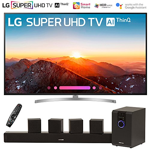 LG 75SK8070PUA 75″ Class 4K HDR Smart LED AI Super UHD TV w/ThinQ (2018 Model) with Sharper Image 5.1 Home Theater System w/Subwoofer, Sound Bar & Satellite Speakers