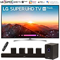 LG 75SK8070PUA 75 Class 4K HDR Smart LED AI Super UHD TV w/ThinQ (2018 Model) with Sharper Image 5.1 Home Theater System w/Subwoofer, Sound Bar & Satellite Speakers