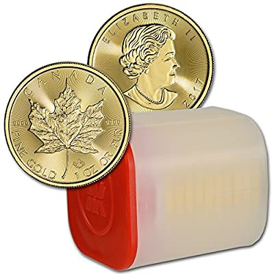 CA 2017 Canada Gold Maple Leaf (1 oz) TEN (10) 1 Roll in Mint Tube Brilliant Uncirculated