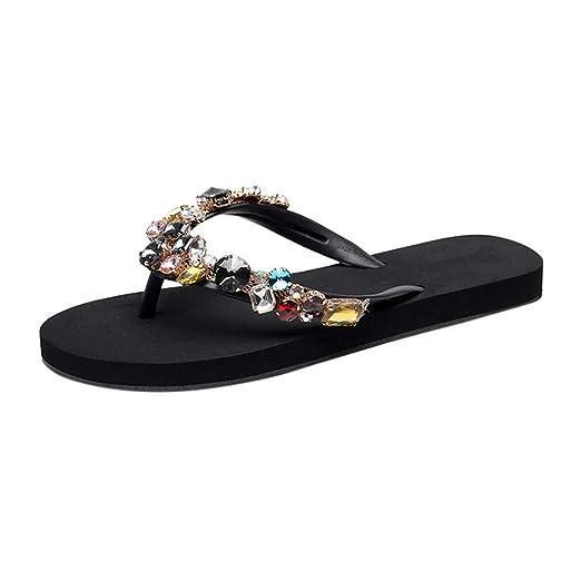 60bd73a4c3d1 Ninasill Women Rhinestone Man-Made gems Bohemia Non-Slip Flat Beach  Slippers Clip Toe Home Slippers flip Flops Sandals  Clothing