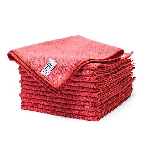 Red Microfiber Cleaning Cloths by Buff Pro | Best Towels For House-Hold Cleaning, Dusting, Scrubbing, Polishing, Absorbing | size 16″ x 16″ -12 Pack