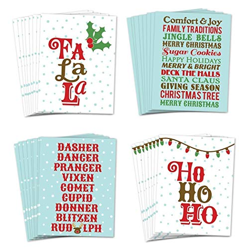 (Festive Holiday Cards 48 Pack w Envelopes 4 Merry Christmas Traditions Designs Perfect for Children School Classroom Card Exchange Family Friend Seasonal Greetings 48 Boxed Set by Digibuddha)