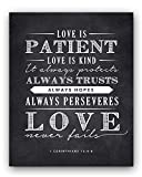 Corinthians 13;4-8 Love is Patient Quote Chalkboard Sign, Perfect Wedding or Anniversary Gift (11x14)