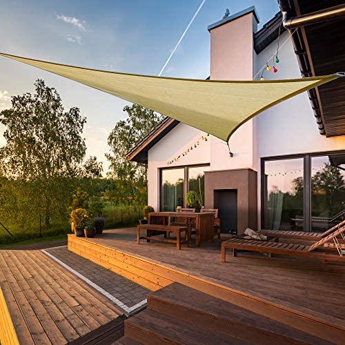 Jard/ín AXT SHADE Toldo Vela de Sombra Triangular 3,6 x 3,6 x 3,6 m Exteriores protecci/ón Rayos UV Impermeable para Patio Color Arena